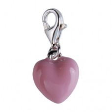 Silver Berlock - Hjärta med Rosa Emalj